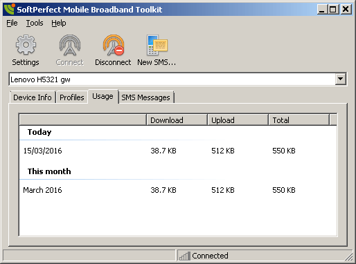 SoftPerfect Mobile Broadband Toolkit - Traffic Usage tab