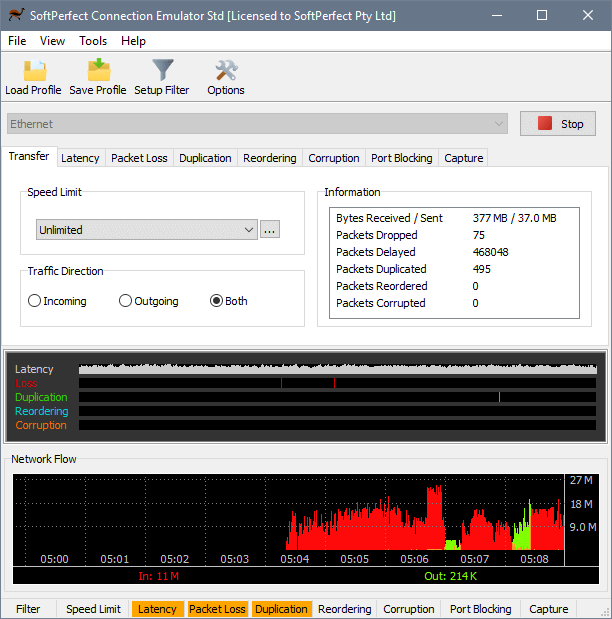SoftPerfect Connection Emulator - Main window