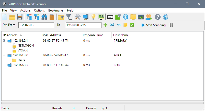 SoftPerfect Network Scanner's main window
