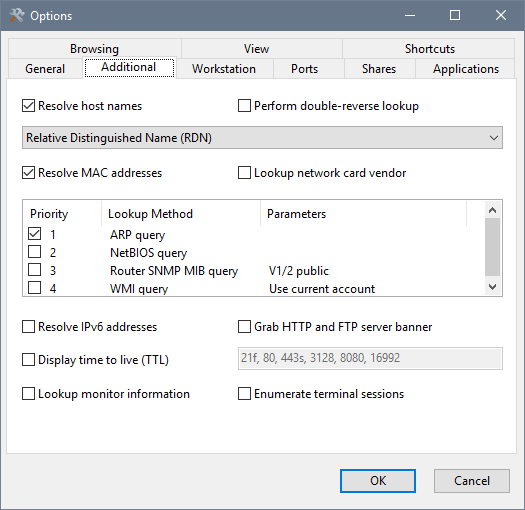 SoftPerfect Network Scanner's Additional options window